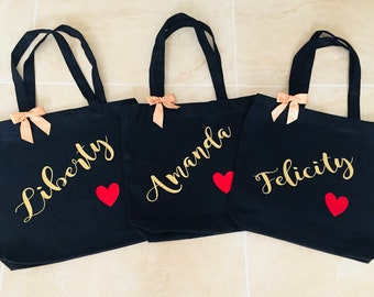 Set of 3 BRIDESMAID TOTES  Maid of Honor gift, Bridal party gift, Wedding Tote