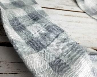 double gauze gray gingham cowl scarf