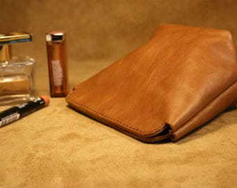Leather Cosmetic bag  leather make up bag  Leather Purse  Pouch Bag  Makeup case  Gift for her  Brown make up bag  Leather pencil case