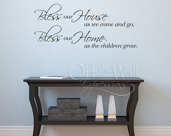 Bless our House as we come and go, entryway decal, family wall decals