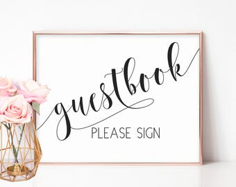 Guestbook Wedding Sign, Please Sign Our Guestbook Printable, Guestbook Table Sign, Wedding Reception Signs, Guestbook Printable, Modern