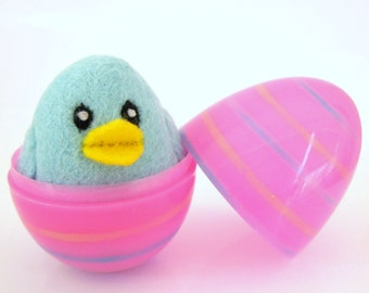 Blue Chick in a Pink Egg - Needle Felted Wool toy for Boys and Girls - Waldorf - Bird - Easter