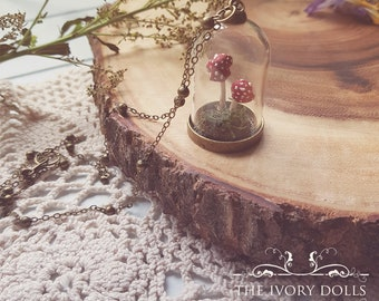 OOAK Double Toadstool Terrarium Dome Necklace ~ Amanita and Moss ~ Handmade by The Ivory Dolls