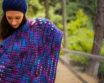 Crochet Shawl, Handmade Shawl, Multicolor Shawl, Chunky Shawl, Woman Shawl, Triangle Shawl