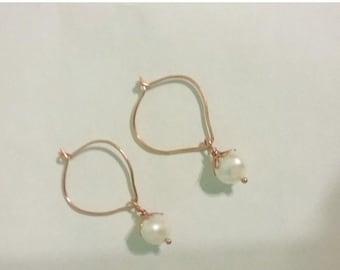 SPRING SALE Freshwater Pearl And Copper Lotus Petal Hoop Earrings