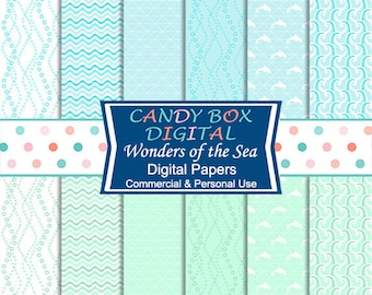 Nautical Ocean Digital Paper, Waves and Water Paper - Commercial Use OK