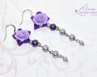 Flower Violet Earrings Flower Wife gift Lavender earrings gift Purple Flower Earrings Lilac earrings Purple Wife gift Violet rose earrings