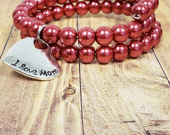 Red pearl Memory wire Bracelet/ pearl wrap bracelet/ coil bracelet/ mother's day jewelry