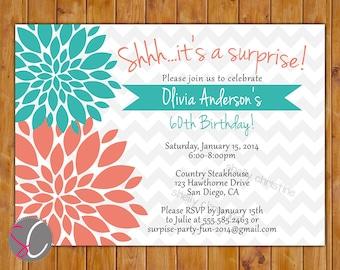 Surprise Birthday Invitation, Teal Coral Floral Burst, 30th 40th 50th 60th Milestone Adult Birthday 5x7 Digital JPG DIY Printable (167)