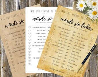 Hochzeitsspiele deutsch - Übereinstimmungsspiel - Hochzeitsspiel Fragen - Junggesellenabschied Spiele deutsch -  Partybedarf - PDF druckbar