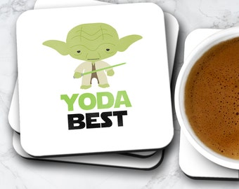 Yoda Best Coaster | Gift For Him or Her | Coasters Set Birthday Valentines Christmas | Star Wars Movie Themed Fan Art