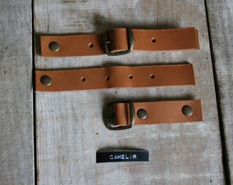 set of 4 genuine leather kilt straps available in camel/Brown or black