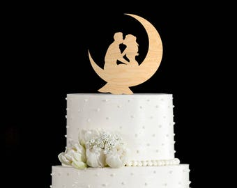 Moon cake topper,moon wedding cake topper,moon cake topper wedding,moon wedding cake,cake topper moon,wedding cake topper moon,6922017