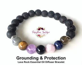 Protection Bracelet-Grounding Bracelet-Negative Energy-Empath Protection-Aura Protection-Beaded Bracelet-Lava Rock Essential Oil Diffuser