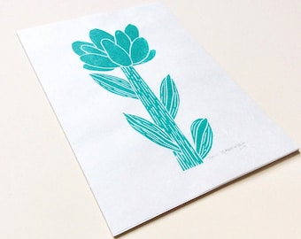 linocut - FLOWER // 5x7 art print // printmaking // block print // nature art // turquoise // original art // small, miniature