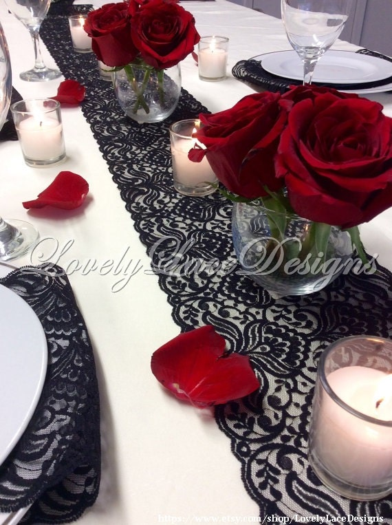 Black Lace Table Runner 12ft20ft x 65in Wide Black Wedding