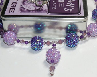 Sparkle, Sparkle & Sparkle Pave Purple/Pink Beaded Handmade Necklace with Drop Pendant
