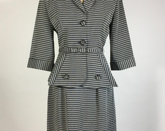 Vintage early 1950's 50s 3pc Black & White tiny stripe fitted DYNAMIC skirt suit set with amazing structured jacket