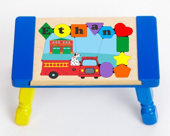 Personalized Name Fire Truck Theme Children Puzzle Step Stool