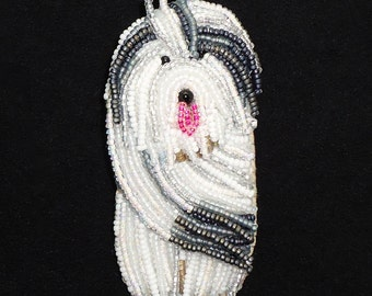 OLD ENGLISH SHEEPDOG beaded dog keepsake art pin pendant (Made to Order)
