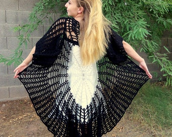 Stevie Nicks Spiderweb Mandala Tunic Sweater Coat with Gauntlet Sleeves