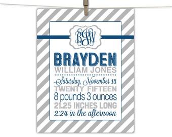 newborn boy baby gift, personalized baby keepsake, gray and navy nursery decor, birth stats print, new baby gift baby boy