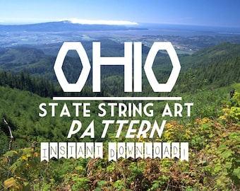 "OHIO - DIY State String Art Pattern  - 9"" x 9"" - Hearts & Stars included"