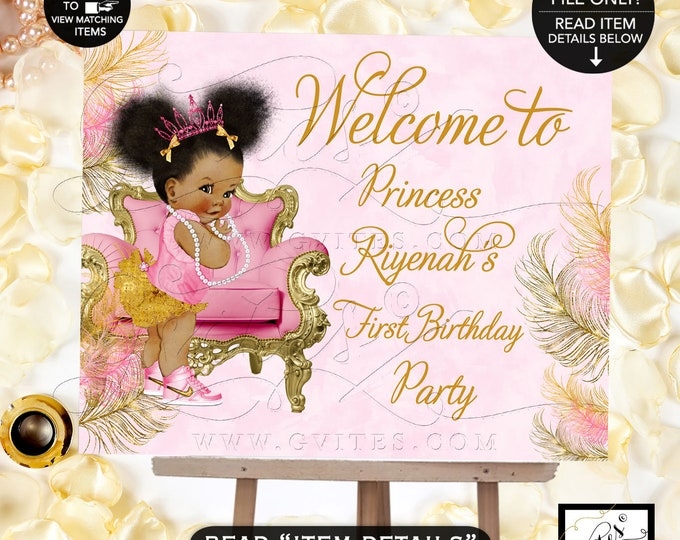 Pink & Gold First Birthday Welcome Sign, Afro Puffs Princess Decorations Birthday Baby Girl, African American Birthday Poster, Gvites