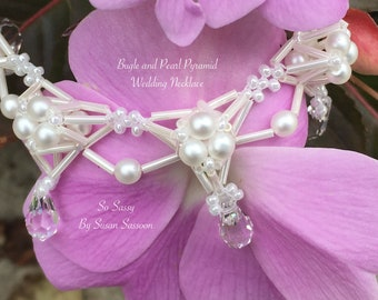Bugle and Pearl Pyramid Wedding Necklace Tutorial