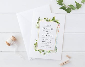 Printable Save The Date Wedding Card, Green Leaves Foliage Watercolor Save The Date Card