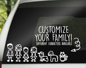 Custom Family Car Decal - Stick Figure Family Decal - Custom Family Decal - Car Decal for Family - Family Decal - Car Decals - Laptop Decals