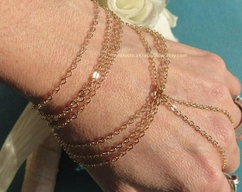 Sale Gold plated hand chain bracelet jewelry, gold slave bracelet, body jewelry, hand bracelet with chain ring attached, chain ring bracelet