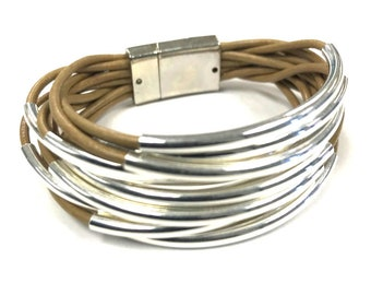 Tan Tube Bracelet, Leather Bracelet | Wrap Bracelet | Noodle Bead | Leather Jewelry | Gift for Her | Magnetic Clasp