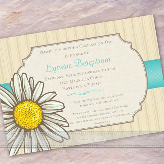 bridal shower invitations, daisy bridal shower invitations, turquoise bridal shower invitations, graduation invitations, grad party, IN368