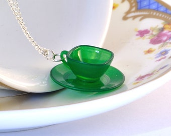 Green Teacup Necklace - Gift for Tea Lover - Teacup Jewellery