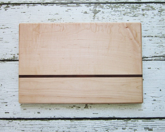 Reclaimed Maple Cutting Board with Walnut Stripe