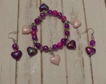 Set bracelet and earrings purple and pink glass beads
