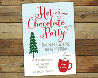Hot chocolate birthday party invitation, winter birthday party, hot chocolate party invitation, printable invitation or printed cards