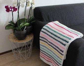 Rainbow baby blanket, Crochet baby stroller blanket, Baby shower gift, play blanket, pram blanket, bedstead blanket, cradle blanket, newborn