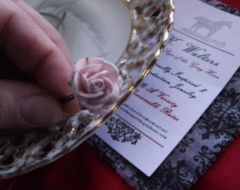 HA-0072 - Paper Hair Flower Hair Pin - Light Pink Roses - Georgian Hair Sprig, Georgian Hair Flowers, Regency Hair Flowers, Regency Hair Pin