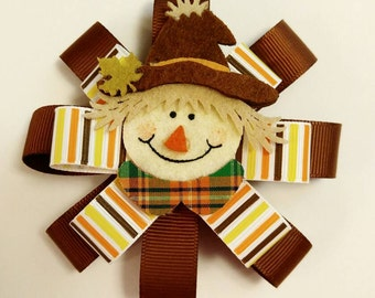 Thanksgiving fall scare crow 4 inch hair bow