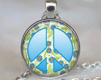 Summer Sky Peace Sign pendant, Peace sign necklace hippie jewelry  hippie pendant  symbolic jewelry key chain key ring key fob