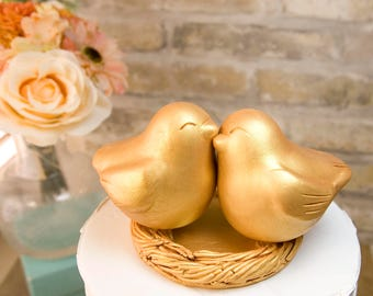 Bright Gold Love Bird Cake Topper