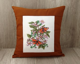 Mustard cushion Cross stitch summer cushion Floral orange butterfly embroidery pillow cover 16 x 16 inch  (40 x 40) ~ mustard yellow décor