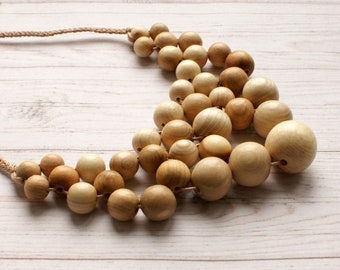 Unusual large organic wooden nursing necklace Statement juniper wood breastfeeding jewelry for new mum Natural  weaving teething necklace