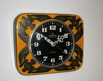 Vintage ceramic wall clock JUNGHANS electronic Ato-Mat 1970s