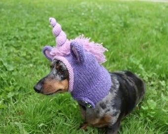 KNITTING PATTERN, Dachshund Unicorn Hood, dog hat, dogs, pet, pet costume, pets, doxie, mini, dachshund, unicorn, hat, dog clothes, dog