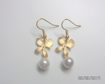 Gold orchid flower with Fresh water pearl earrings, Bridesmaid gift,Affordable Christmas gift