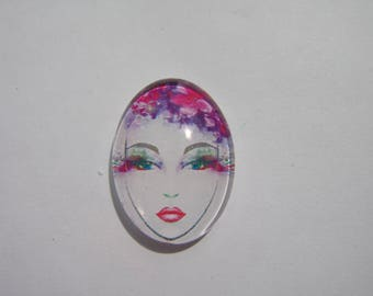 Glass cabochon oval 25 X 18 mm with the image of woman face purple
