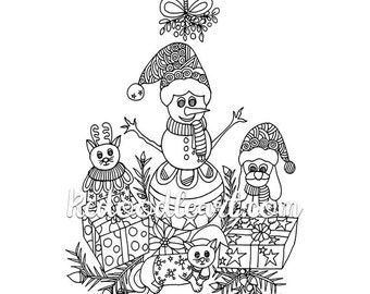 Instant Digital Download - Christmas Coloring Page - Cat, Snowman, Dog